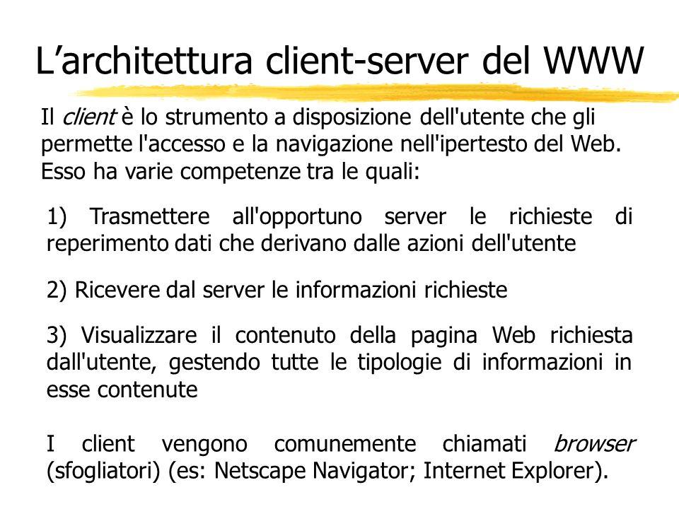 Il client è lo strumento a disposizione dell'utente che gli permette l'accesso e la navigazione nell'ipertesto del Web. Esso ha varie competenze tra l