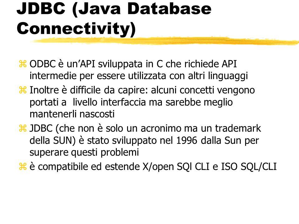 JDBC (Java Database Connectivity) zODBC è unAPI sviluppata in C che richiede API intermedie per essere utilizzata con altri linguaggi zInoltre è diffi