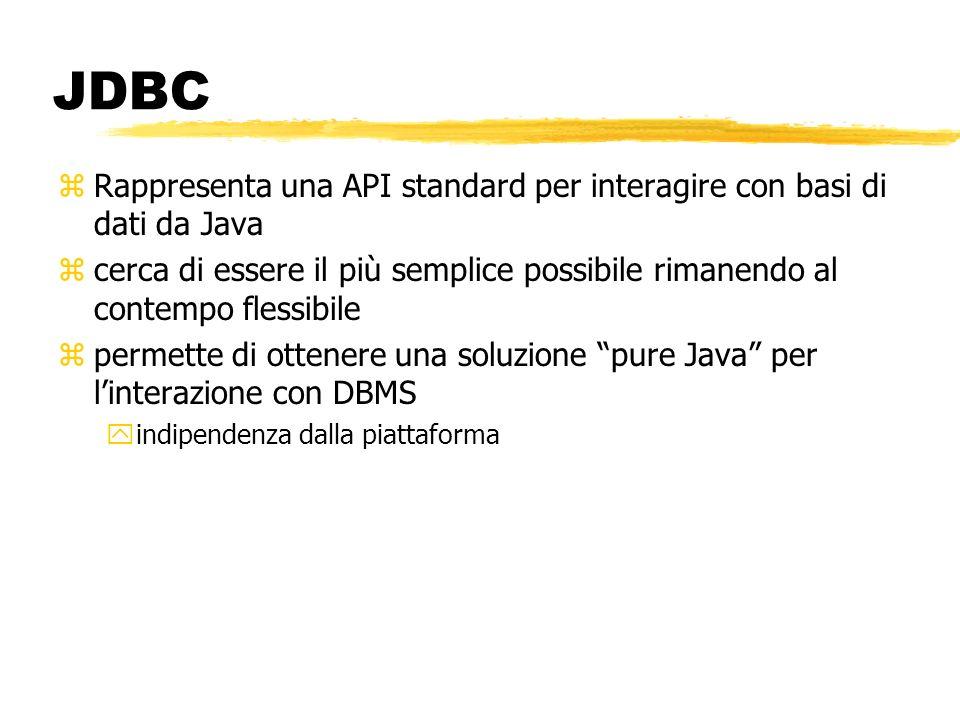 JDBC zRappresenta una API standard per interagire con basi di dati da Java zcerca di essere il più semplice possibile rimanendo al contempo flessibile