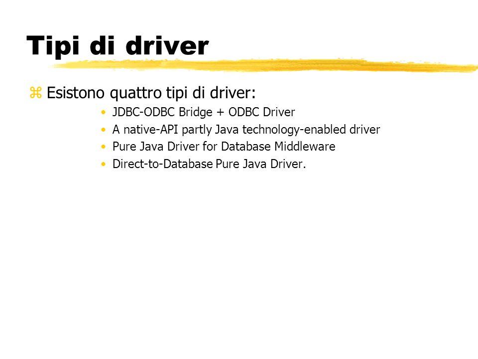 Tipi di driver zEsistono quattro tipi di driver: JDBC-ODBC Bridge + ODBC Driver A native-API partly Java technology-enabled driver Pure Java Driver fo