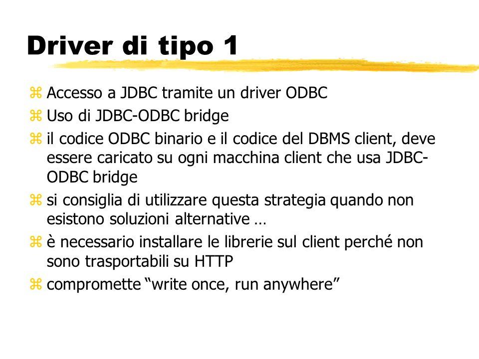 Driver di tipo 1 zAccesso a JDBC tramite un driver ODBC zUso di JDBC-ODBC bridge zil codice ODBC binario e il codice del DBMS client, deve essere cari