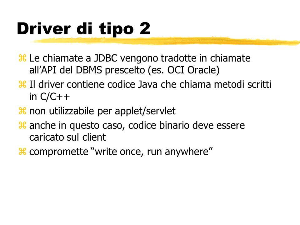 Driver di tipo 2 zLe chiamate a JDBC vengono tradotte in chiamate allAPI del DBMS prescelto (es. OCI Oracle) zIl driver contiene codice Java che chiam