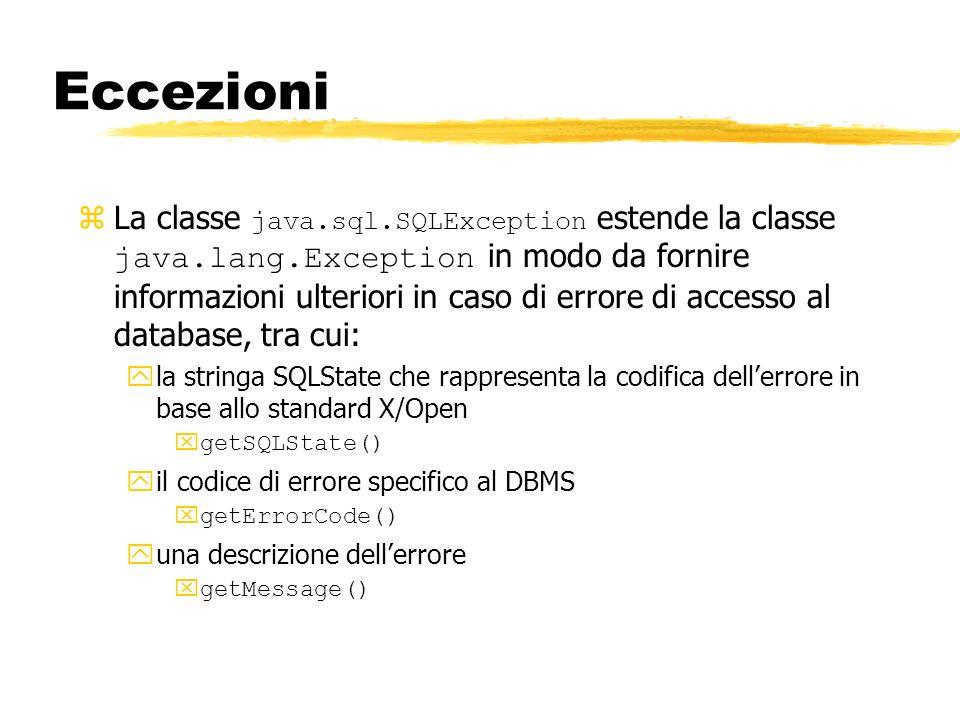 Eccezioni La classe java.sql.SQLException estende la classe java.lang.Exception in modo da fornire informazioni ulteriori in caso di errore di accesso