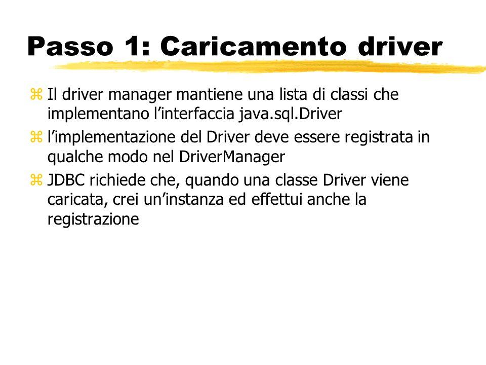 Passo 1: Caricamento driver zIl driver manager mantiene una lista di classi che implementano linterfaccia java.sql.Driver zlimplementazione del Driver