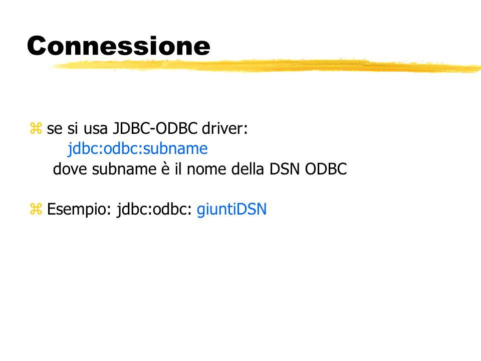 Connessione zse si usa JDBC-ODBC driver: jdbc:odbc:subname dove subname è il nome della DSN ODBC zEsempio: jdbc:odbc: giuntiDSN