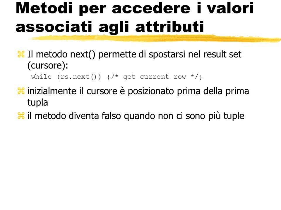 Metodi per accedere i valori associati agli attributi zIl metodo next() permette di spostarsi nel result set (cursore): while (rs.next()) {/* get curr