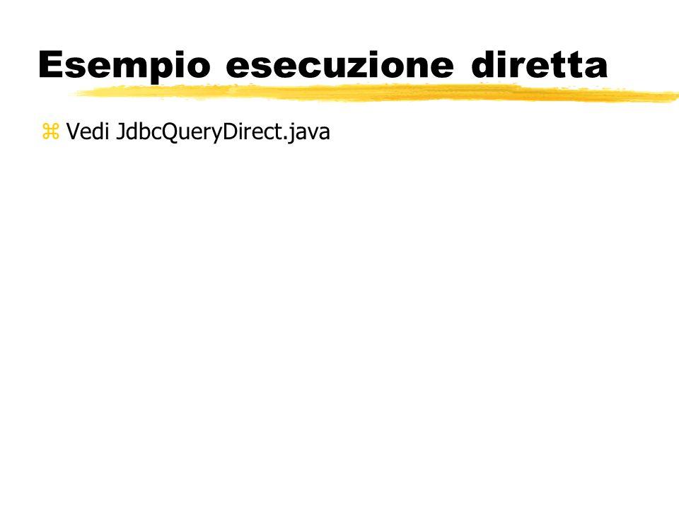 Esempio esecuzione diretta zVedi JdbcQueryDirect.java