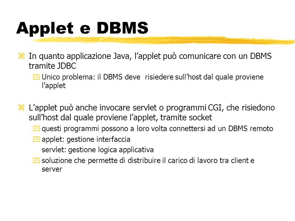 Applet e DBMS zIn quanto applicazione Java, lapplet può comunicare con un DBMS tramite JDBC yUnico problema: il DBMS deve risiedere sullhost dal quale