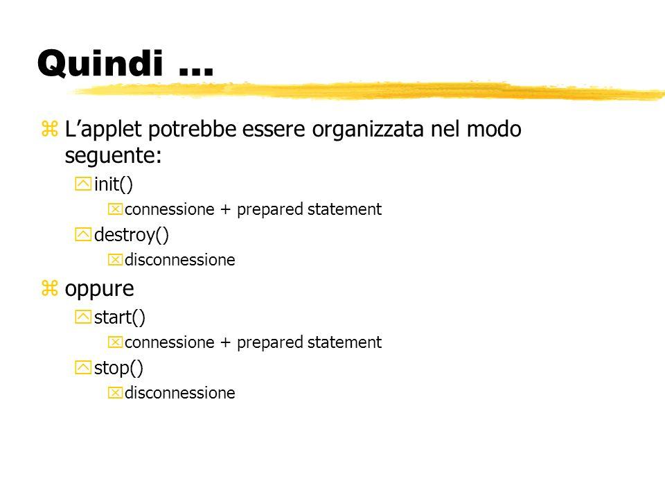 Quindi... zLapplet potrebbe essere organizzata nel modo seguente: yinit() xconnessione + prepared statement ydestroy() xdisconnessione zoppure ystart(