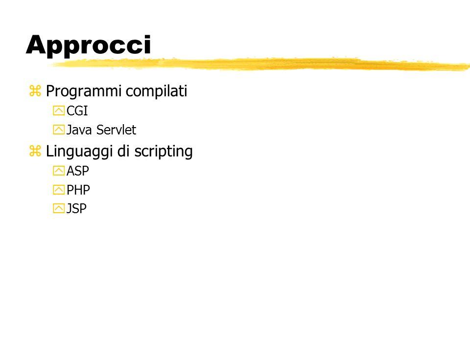 Approcci zProgrammi compilati yCGI yJava Servlet zLinguaggi di scripting yASP yPHP yJSP