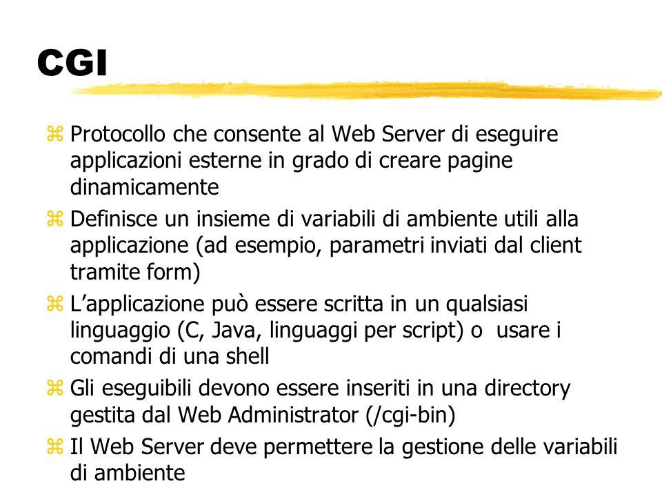CGI zProtocollo che consente al Web Server di eseguire applicazioni esterne in grado di creare pagine dinamicamente zDefinisce un insieme di variabili
