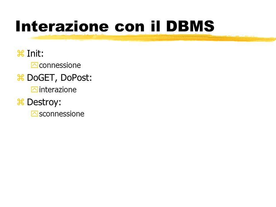 Interazione con il DBMS zInit: yconnessione zDoGET, DoPost: yinterazione zDestroy: ysconnessione