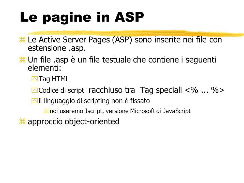 Le pagine in ASP zLe Active Server Pages (ASP) sono inserite nei file con estensione.asp. zUn file.asp è un file testuale che contiene i seguenti elem