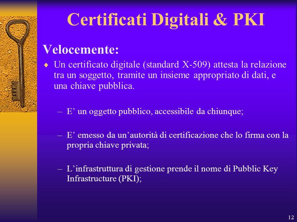 12 Certificati Digitali & PKI Velocemente: Un certificato digitale (standard X-509) attesta la relazione tra un soggetto, tramite un insieme appropria