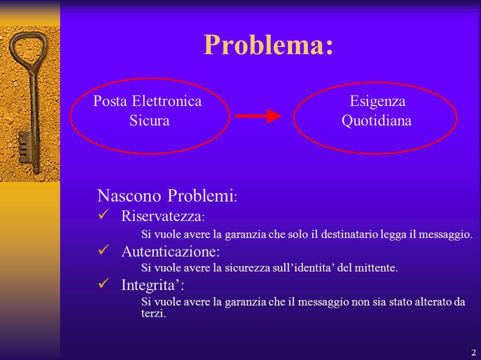 2 Problema: Nascono Problemi : Riservatezza : Si vuole avere la garanzia che solo il destinatario legga il messaggio. Autenticazione: Si vuole avere l