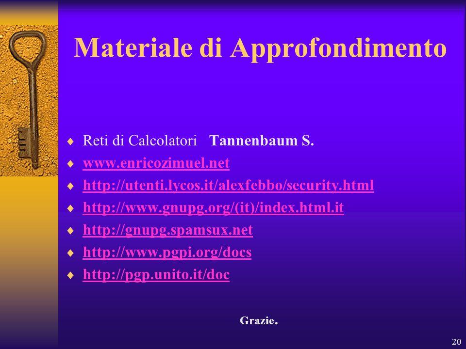 20 Materiale di Approfondimento Reti di Calcolatori Tannenbaum S. www.enricozimuel.net http://utenti.lycos.it/alexfebbo/security.html http://www.gnupg