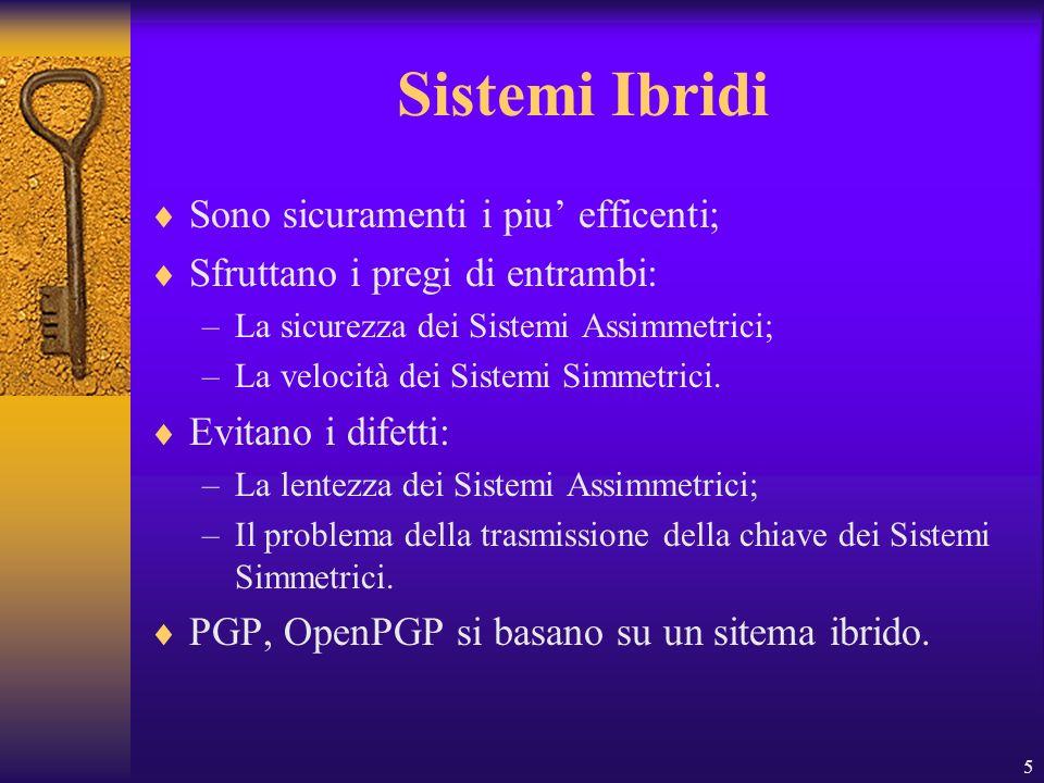 5 Sistemi Ibridi Sono sicuramenti i piu efficenti; Sfruttano i pregi di entrambi: –La sicurezza dei Sistemi Assimmetrici; –La velocità dei Sistemi Sim