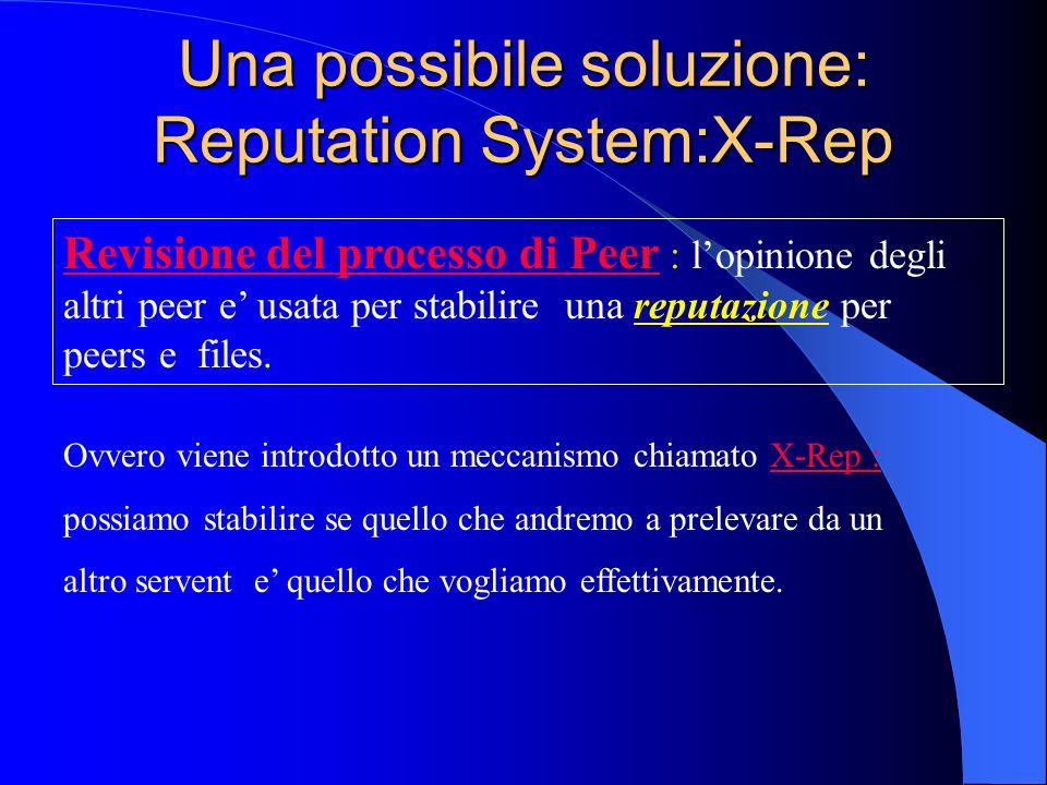 Una possibile soluzione: Reputation System:X-Rep Revisione del processo di Peer : lopinione degli altri peer e usata per stabilire una reputazione per peers e files.