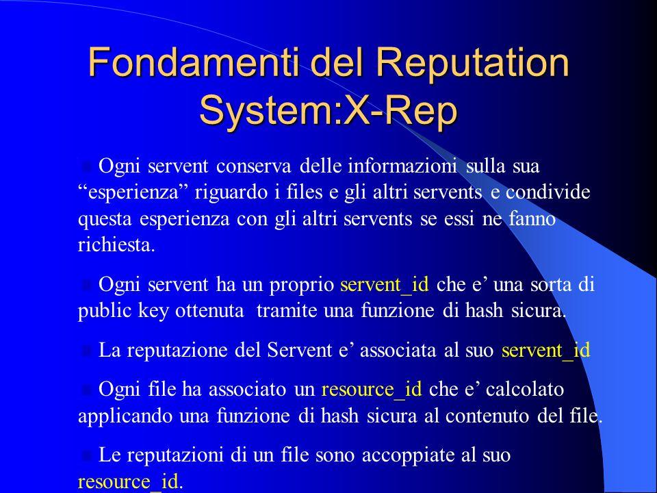 Fondamenti del Reputation System:X-Rep Ogni servent conserva delle informazioni sulla sua esperienza riguardo i files e gli altri servents e condivide questa esperienza con gli altri servents se essi ne fanno richiesta.