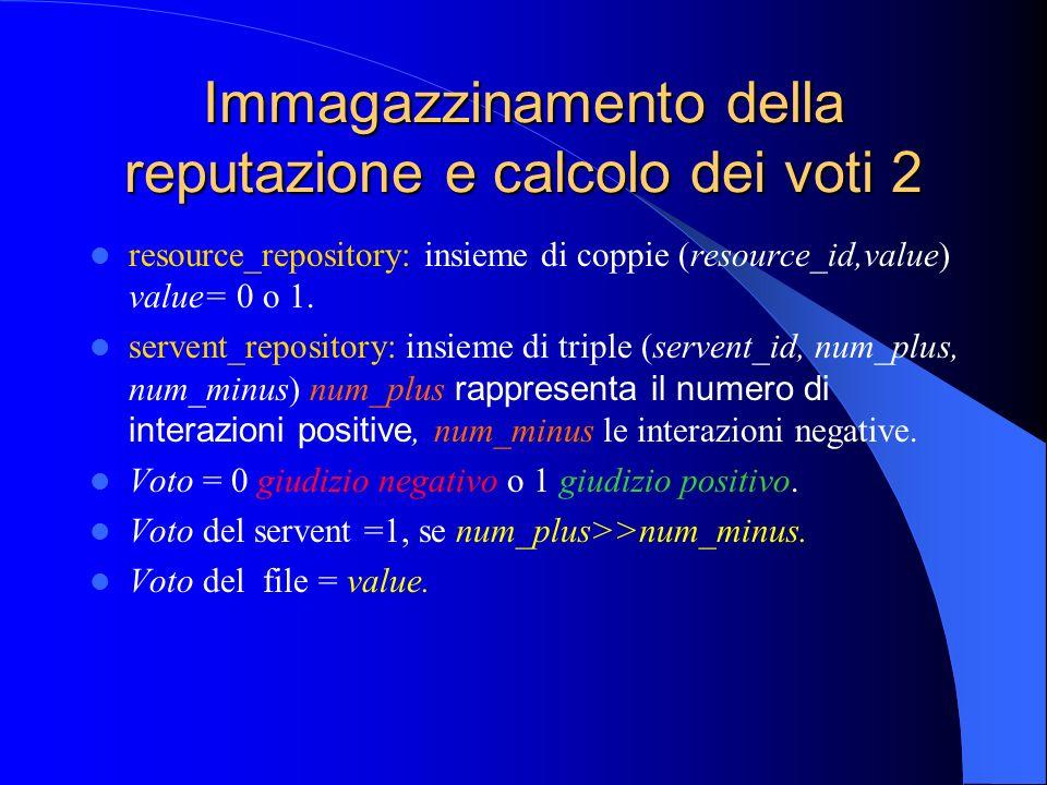 Immagazzinamento della reputazione e calcolo dei voti 2 resource_repository: insieme di coppie (resource_id,value) value= 0 o 1.