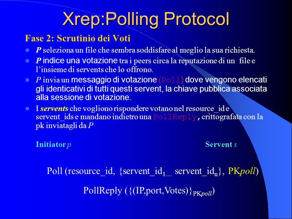 Xrep:Polling Protocol Fase 2: Scrutinio dei Voti P seleziona un file che sembra soddisfare al meglio la sua richiesta.