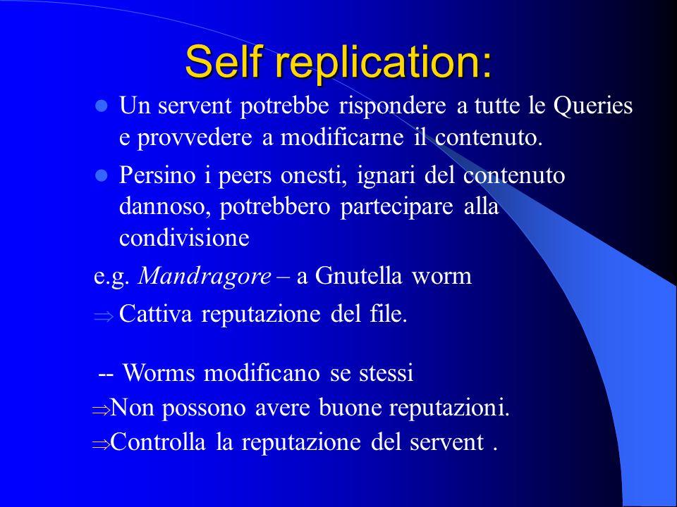 Self replication: Un servent potrebbe rispondere a tutte le Queries e provvedere a modificarne il contenuto.