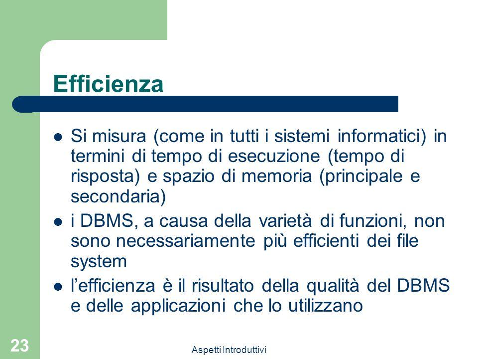 Aspetti Introduttivi 23 Efficienza Si misura (come in tutti i sistemi informatici) in termini di tempo di esecuzione (tempo di risposta) e spazio di memoria (principale e secondaria) i DBMS, a causa della varietà di funzioni, non sono necessariamente più efficienti dei file system lefficienza è il risultato della qualità del DBMS e delle applicazioni che lo utilizzano