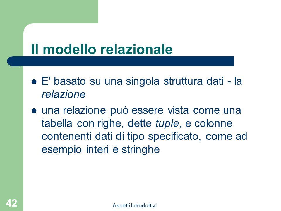 Aspetti Introduttivi 42 Il modello relazionale E basato su una singola struttura dati - la relazione una relazione può essere vista come una tabella con righe, dette tuple, e colonne contenenti dati di tipo specificato, come ad esempio interi e stringhe