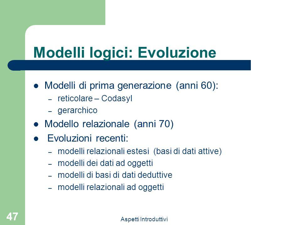 Aspetti Introduttivi 47 Modelli logici: Evoluzione Modelli di prima generazione (anni 60): – reticolare – Codasyl – gerarchico Modello relazionale (anni 70) Evoluzioni recenti: – modelli relazionali estesi (basi di dati attive) – modelli dei dati ad oggetti – modelli di basi di dati deduttive – modelli relazionali ad oggetti