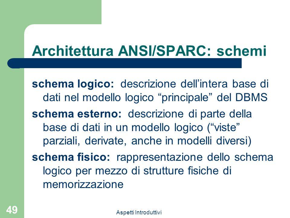 Aspetti Introduttivi 49 Architettura ANSI/SPARC: schemi schema logico: descrizione dellintera base di dati nel modello logico principale del DBMS schema esterno: descrizione di parte della base di dati in un modello logico (viste parziali, derivate, anche in modelli diversi) schema fisico: rappresentazione dello schema logico per mezzo di strutture fisiche di memorizzazione
