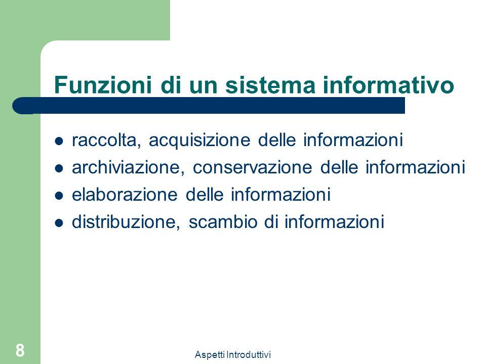 Aspetti Introduttivi 8 Funzioni di un sistema informativo raccolta, acquisizione delle informazioni archiviazione, conservazione delle informazioni elaborazione delle informazioni distribuzione, scambio di informazioni