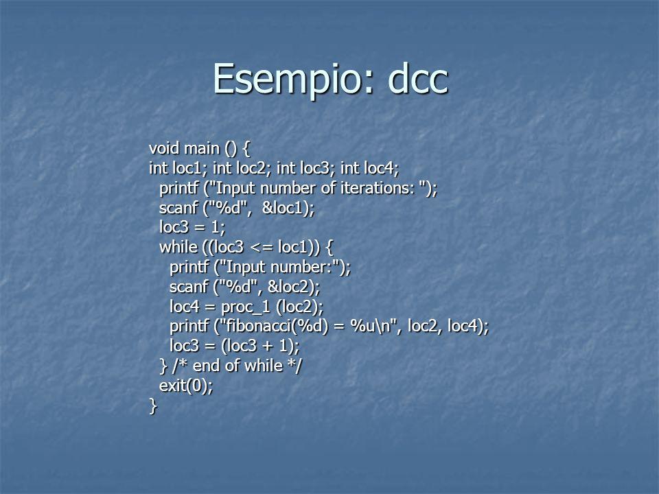 Esempio: dcc void main () { int loc1; int loc2; int loc3; int loc4; printf ( Input number of iterations: ); printf ( Input number of iterations: ); scanf ( %d , &loc1); scanf ( %d , &loc1); loc3 = 1; loc3 = 1; while ((loc3 <= loc1)) { while ((loc3 <= loc1)) { printf ( Input number: ); printf ( Input number: ); scanf ( %d , &loc2); scanf ( %d , &loc2); loc4 = proc_1 (loc2); loc4 = proc_1 (loc2); printf ( fibonacci(%d) = %u\n , loc2, loc4); printf ( fibonacci(%d) = %u\n , loc2, loc4); loc3 = (loc3 + 1); loc3 = (loc3 + 1); } /* end of while */ } /* end of while */ exit(0); exit(0);}
