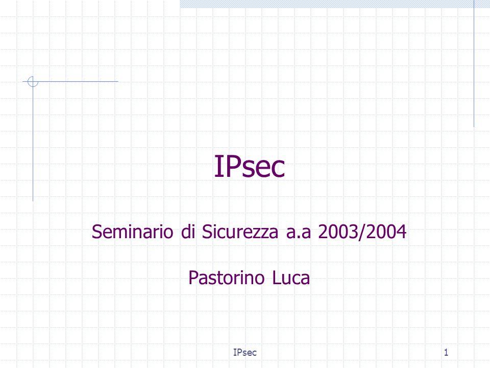 IPsec22 IPsec Transport Mode IP headerPayload IPsec header Payload IP header Original Packet Protected Packet IPsec rimuove lheader IP originale, cripta i dati realtivi ai layer OSI più alti, aggiunge in testa il security header appropriato (ESP/AH) e riapplica lheader IP originale.
