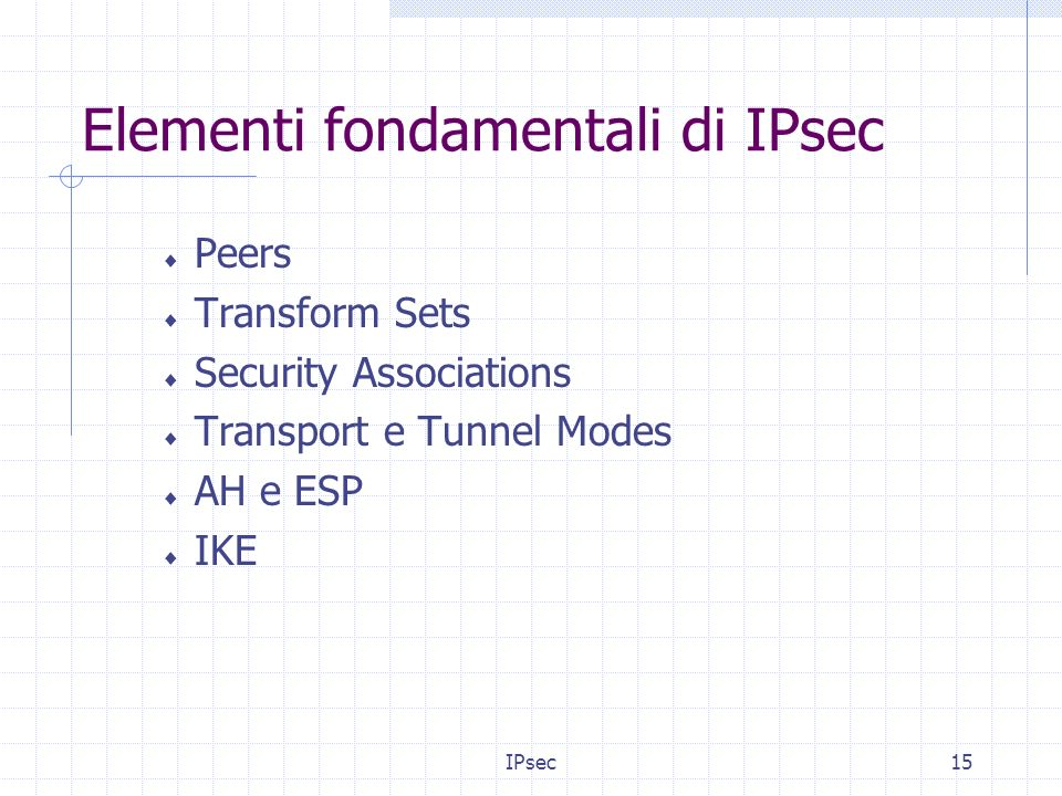 IPsec15 Elementi fondamentali di IPsec Peers Transform Sets Security Associations Transport e Tunnel Modes AH e ESP IKE