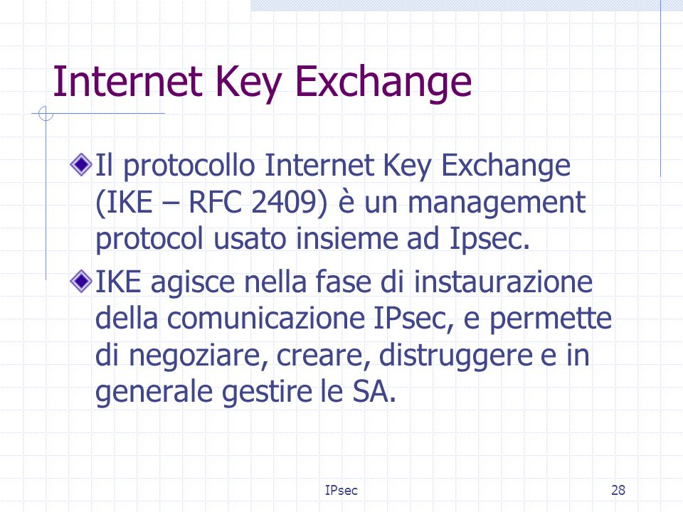 IPsec28 Internet Key Exchange Il protocollo Internet Key Exchange (IKE – RFC 2409) è un management protocol usato insieme ad Ipsec.