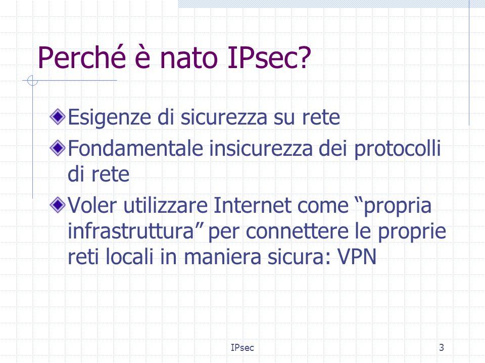 IPsec14 Anti-replay Anti-Replay assicura che una transazione effettuata non possa essere ripetuta da un attaccante Per IPsec cè IKE (Internet Key Exchange) che fornisce lanti-replay mediante luso di sequence numbers combinati con lautenticazione.