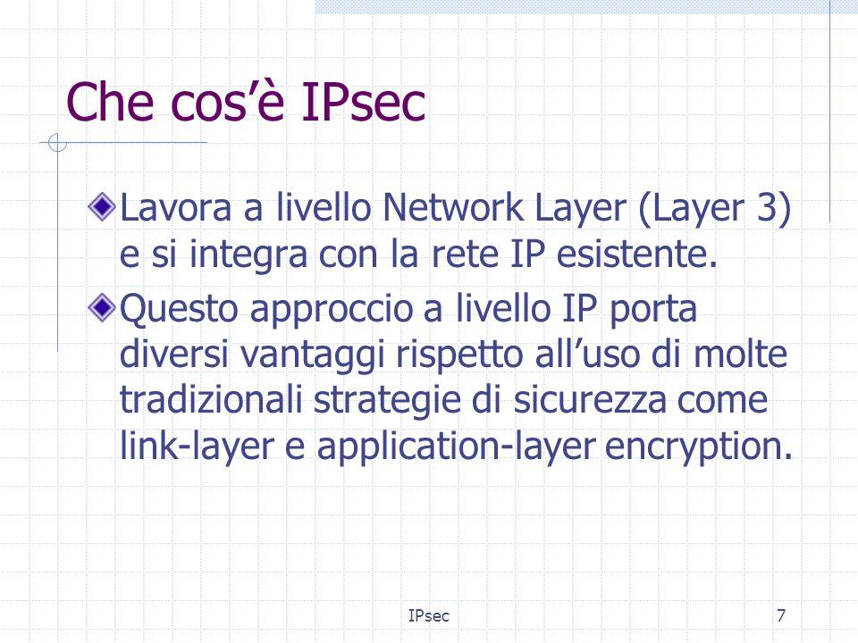 IPsec28 Internet Key Exchange Il protocollo Internet Key Exchange (IKE – RFC 2409) è un management protocol usato insieme ad Ipsec.