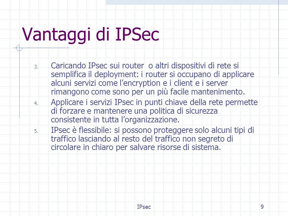 IPsec10 Servizi forniti IPsec non è dunque un protocollo di sicurezza, ma una architettura per la costruzione di comunicazioni sicure su una rete untrusted e fornisce diversi servizi di sicurezza: Confidentiality Integrity Origin authentication Anti-replay