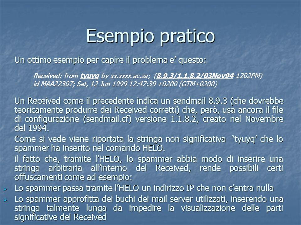 Esempio pratico Un ottimo esempio per capire il problema e questo: Received: from tyuyq by xx.xxxx.ac.za; (8.9.3/1.1.8.2/03Nov94-1202PM) id MAA22307;