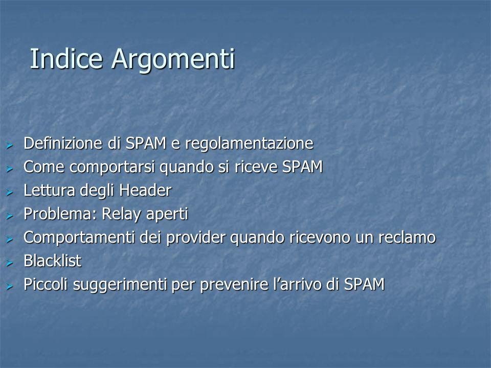 Indice Argomenti Definizione di SPAM e regolamentazione Definizione di SPAM e regolamentazione Come comportarsi quando si riceve SPAM Come comportarsi