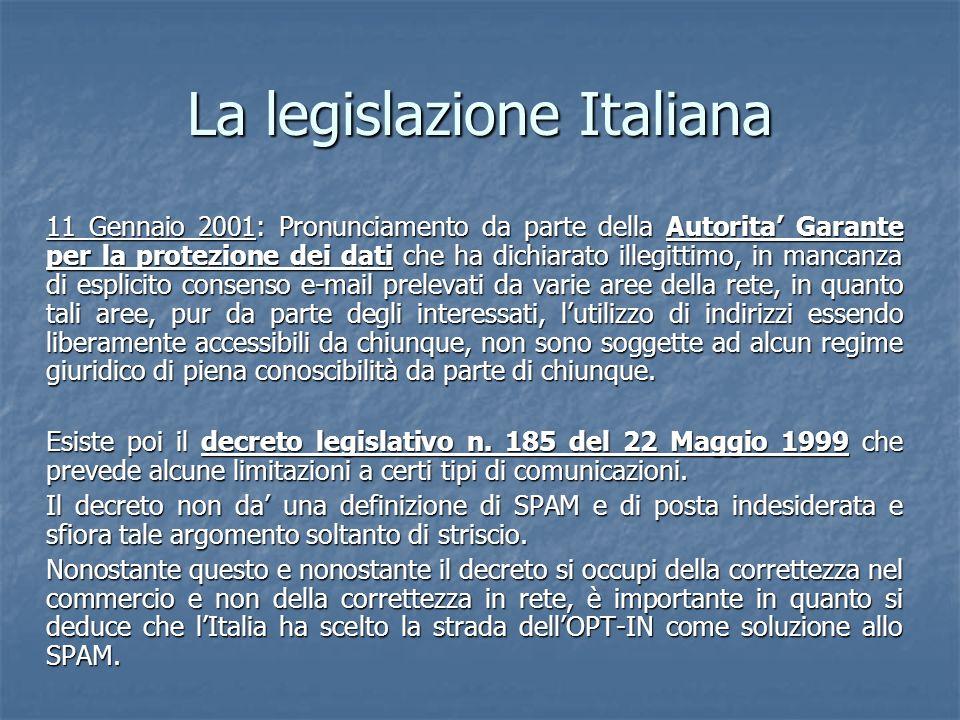 La legislazione Italiana 11 Gennaio 2001: Pronunciamento da parte della Autorita Garante per la protezione dei dati che ha dichiarato illegittimo, in mancanza di esplicito consenso e-mail prelevati da varie aree della rete, in quanto tali aree, pur da parte degli interessati, lutilizzo di indirizzi essendo liberamente accessibili da chiunque, non sono soggette ad alcun regime giuridico di piena conoscibilità da parte di chiunque.