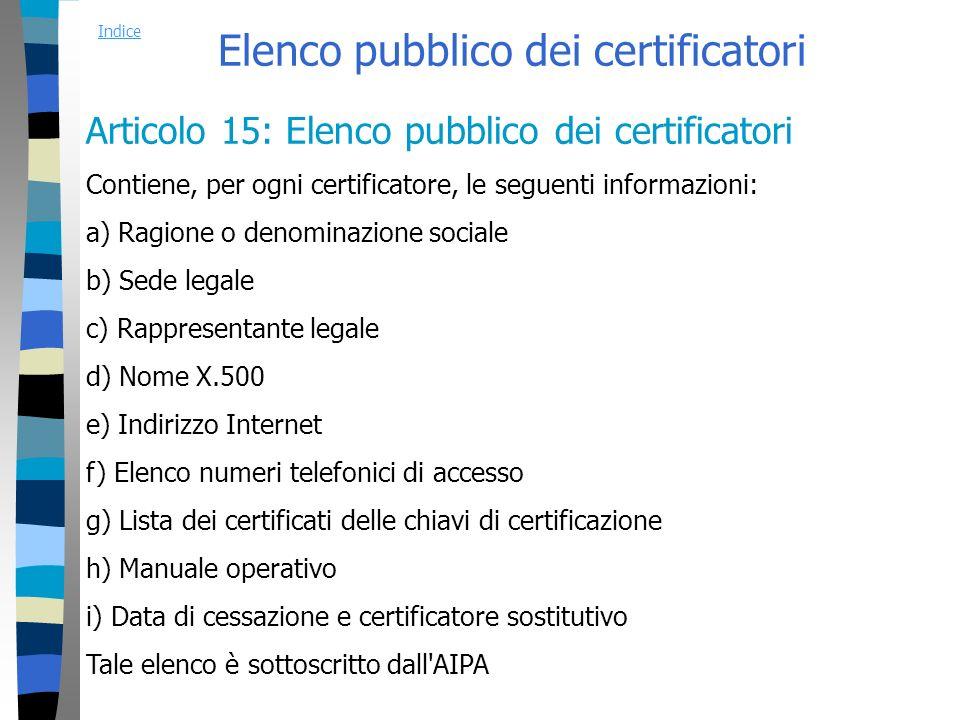 Elenco pubblico dei certificatori Articolo 15: Elenco pubblico dei certificatori Contiene, per ogni certificatore, le seguenti informazioni: a) Ragione o denominazione sociale b) Sede legale c) Rappresentante legale d) Nome X.500 e) Indirizzo Internet f) Elenco numeri telefonici di accesso g) Lista dei certificati delle chiavi di certificazione h) Manuale operativo i) Data di cessazione e certificatore sostitutivo Tale elenco è sottoscritto dall AIPA Indice