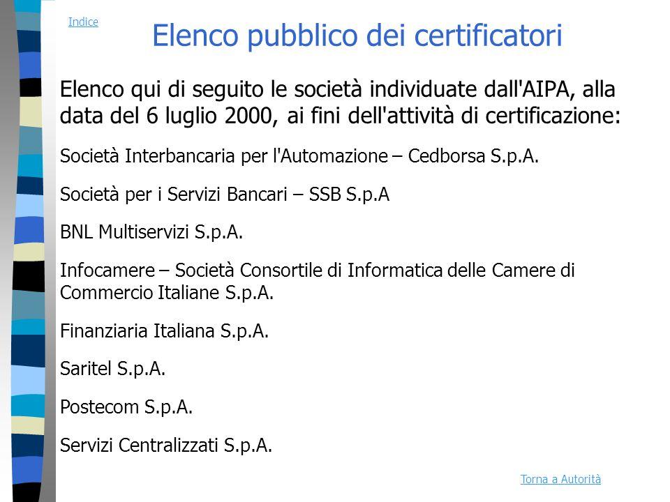 Elenco pubblico dei certificatori Elenco qui di seguito le società individuate dall AIPA, alla data del 6 luglio 2000, ai fini dell attività di certificazione: Società Interbancaria per l Automazione – Cedborsa S.p.A.