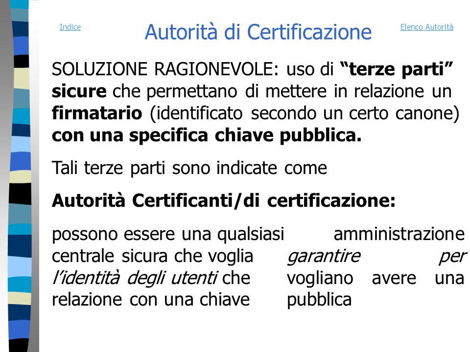 Autorità di Certificazione SOLUZIONE RAGIONEVOLE: uso di terze parti sicure che permettano di mettere in relazione un firmatario (identificato secondo un certo canone) con una specifica chiave pubblica.