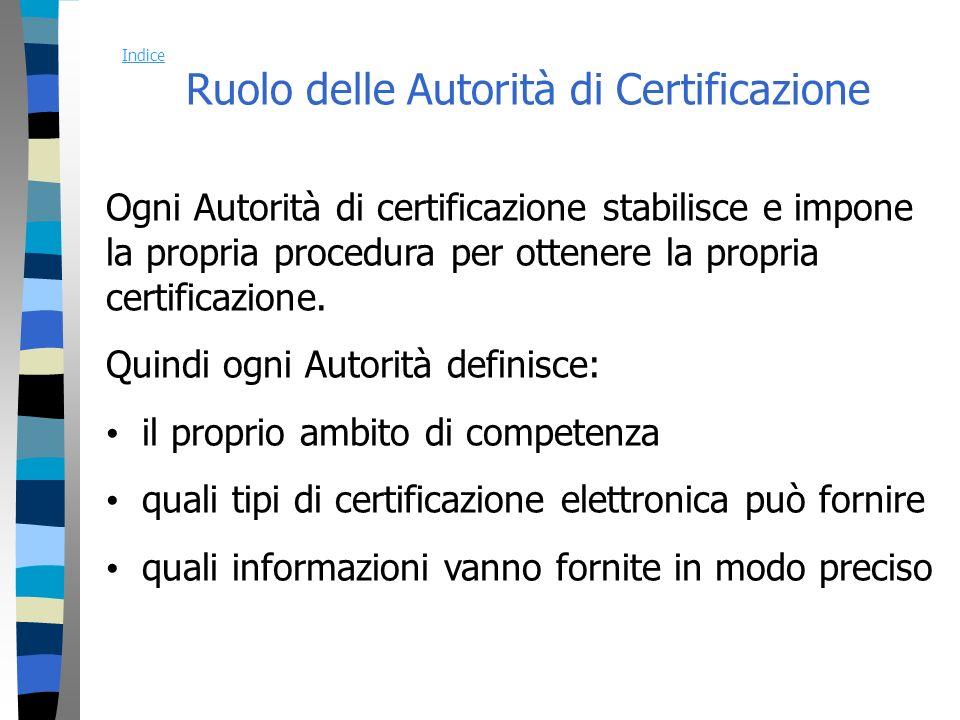 Ruolo delle Autorità di Certificazione Ogni Autorità di certificazione stabilisce e impone la propria procedura per ottenere la propria certificazione.