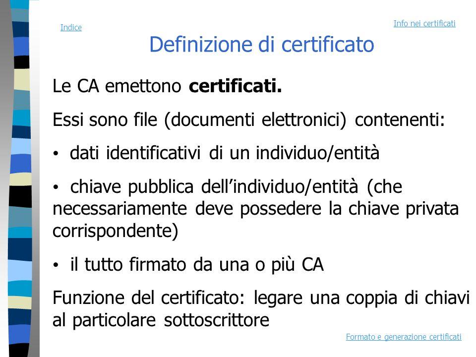 Definizione di certificato Le CA emettono certificati.