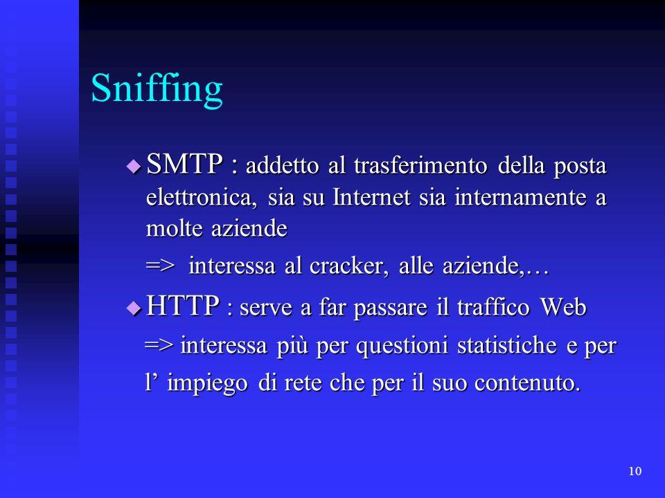 10 Sniffing SMTP : addetto al trasferimento della posta elettronica, sia su Internet sia internamente a molte aziende SMTP : addetto al trasferimento
