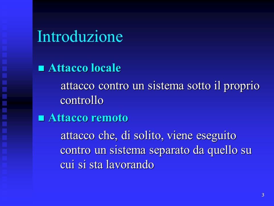 3 Introduzione Attacco locale Attacco locale attacco contro un sistema sotto il proprio controllo attacco contro un sistema sotto il proprio controllo