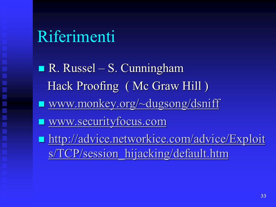 33 Riferimenti R. Russel – S. Cunningham R. Russel – S. Cunningham Hack Proofing ( Mc Graw Hill ) Hack Proofing ( Mc Graw Hill ) www.monkey.org/~dugso