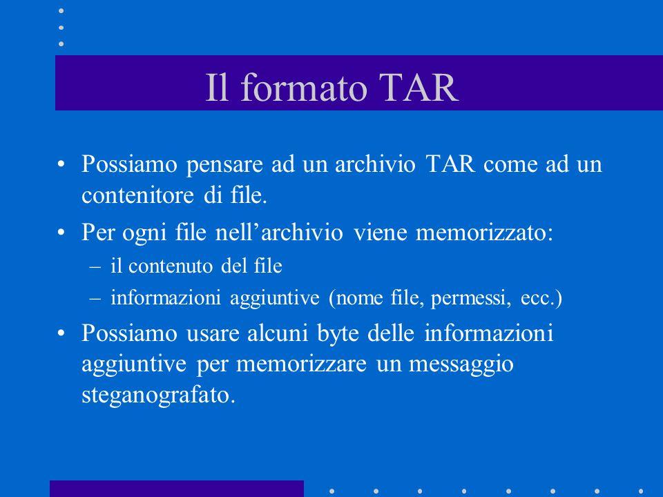 Il formato TAR Possiamo pensare ad un archivio TAR come ad un contenitore di file.
